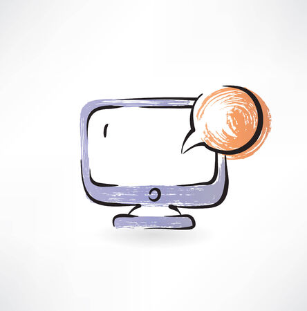 in trouble: monitor and bubble speech grunge icon Illustration