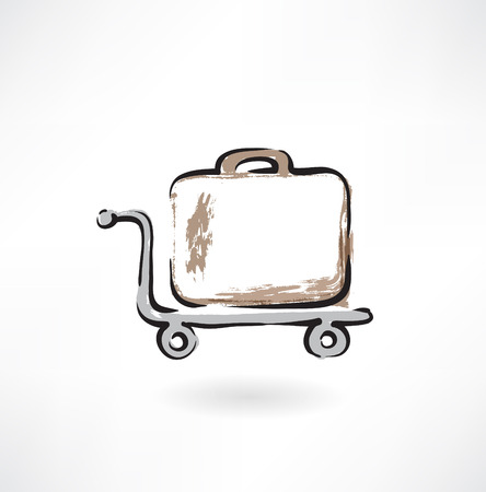 suitcase on wheels grunge icon Vector