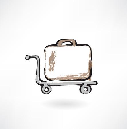 suitcase on wheels grunge icon Vettoriali