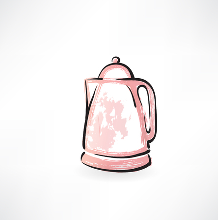 electric kettle: electric kettle grunge icon Illustration