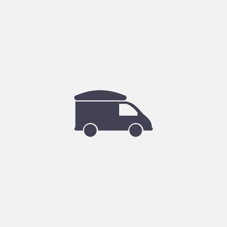 wheeled tractor: refrigerator truck icon Illustration