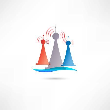 telephone mast: colored antennas Illustration
