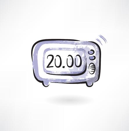 electronic:  electronic alarm clock grunge icon Illustration