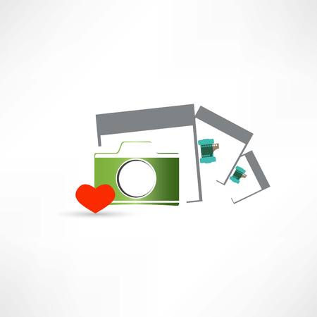 camera heart and photo cards Vector
