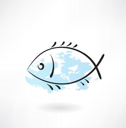 Fish grunge icon