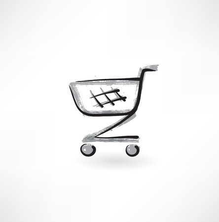 add to cart: trolley grunge icon Illustration