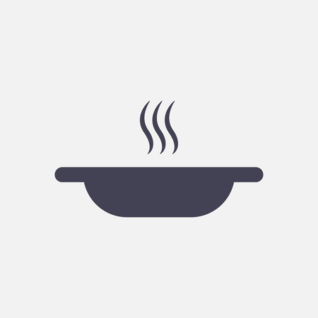 plate of food: A plate of hot soup icon Illustration