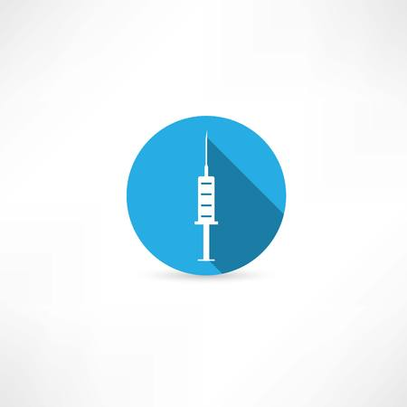 medical supplies: Medical  syringe in the blue circle