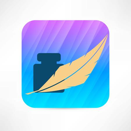 feather and ink icon Ilustrace
