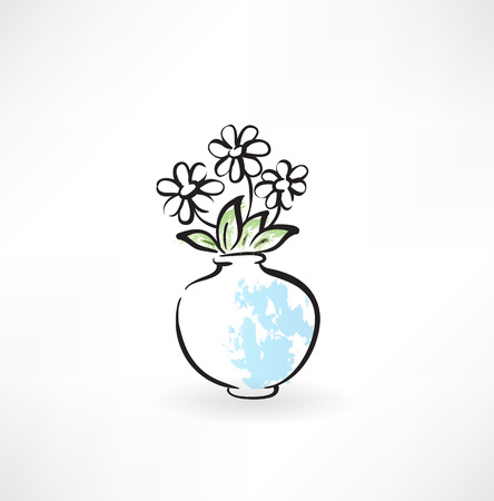 flowers in a vase grunge icon
