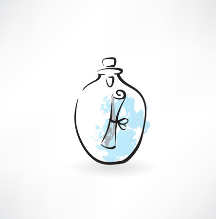 message in a carafe grunge icon Vector
