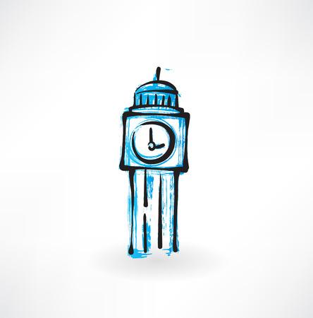 clock tower: clock tower grunge icon Illustration