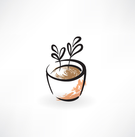 reflection of life: flower in pot grunge icon