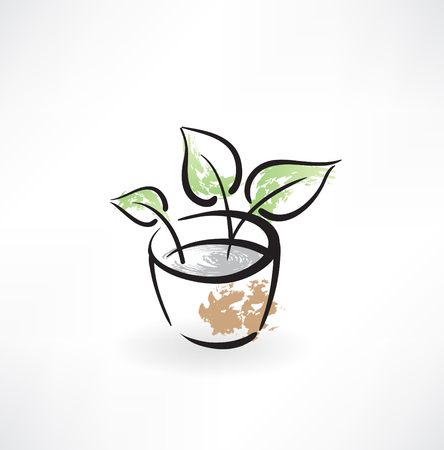 flower in pot grunge icon Vector