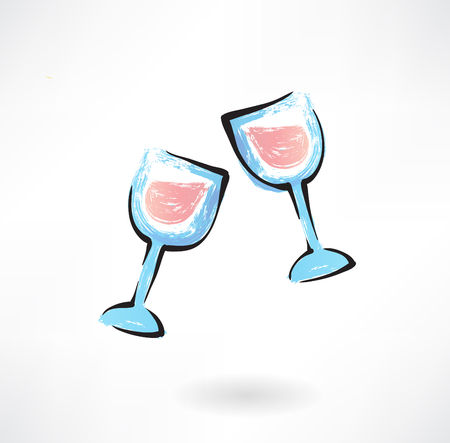 two wine glasses grunge icon