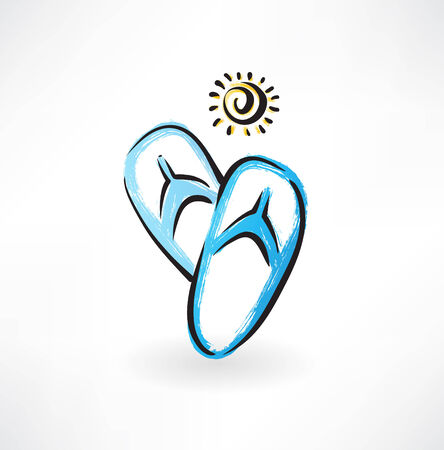 beach slippers grunge icon Vector