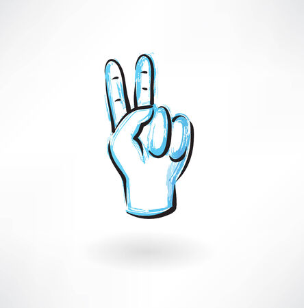 with two: two fingers grunge icon Illustration
