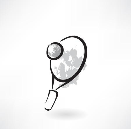 backhand: tennis racket grunge icon Illustration