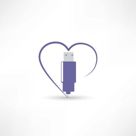 usb in the heart icon