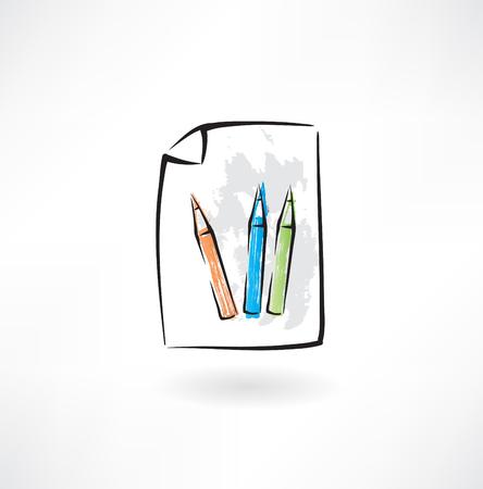 colored pencils grunge icon Ilustracja