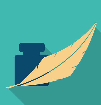 feather and ink icon  イラスト・ベクター素材