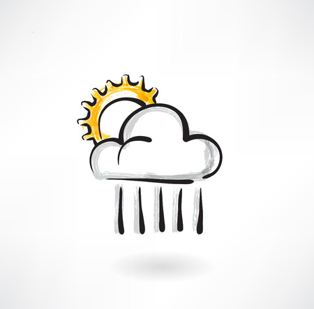 the cloud and the sun grunge icon Vector