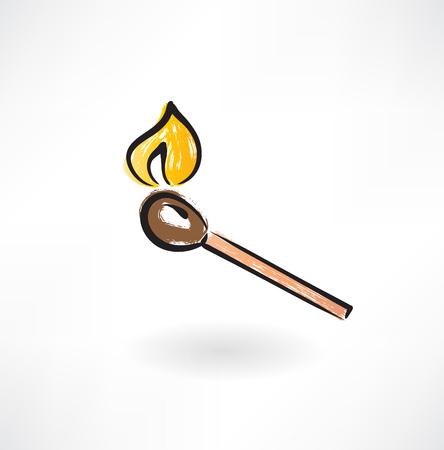 box of matches: match grunge icon Illustration