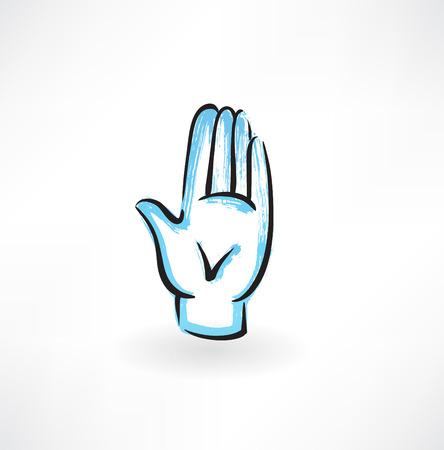 palm hand grunge icon Illustration