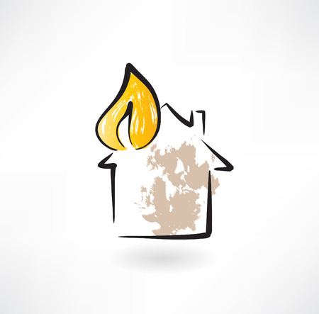 house on fire: house fire grunge icon