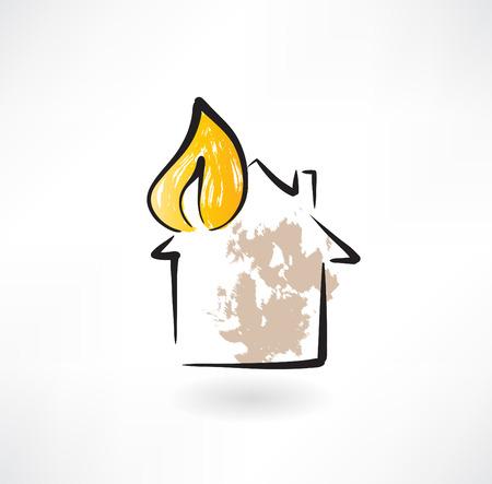 incendio casa: icono de grunge de bomberos Vectores