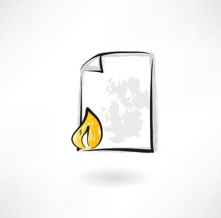burning paper: burning document grunge icon