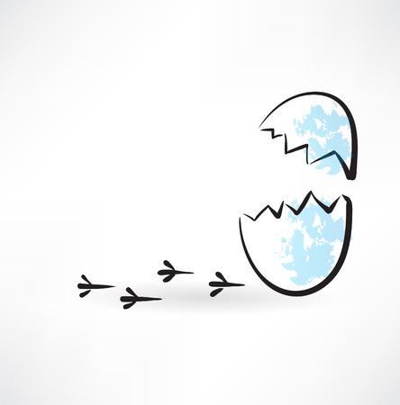 cracked egg: cracked egg grunge icon Illustration