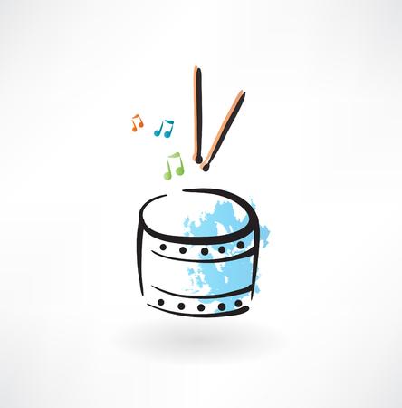 drum grunge icon Ilustração