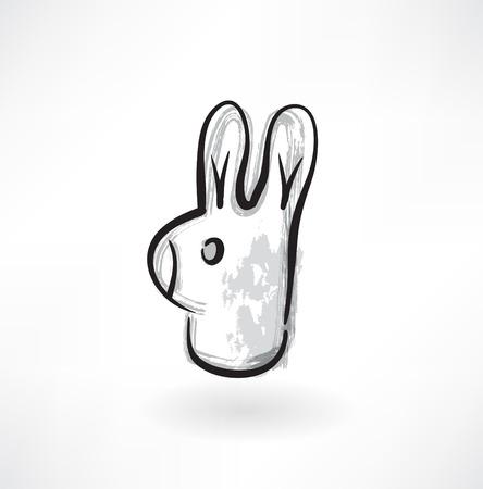 rabbit head grunge icon Vector