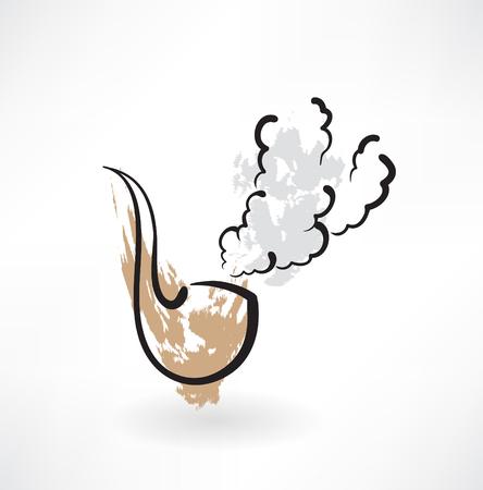 tobacco pipe: tobacco pipe grunge icon