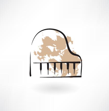 musical score: piano keyboard grunge icon