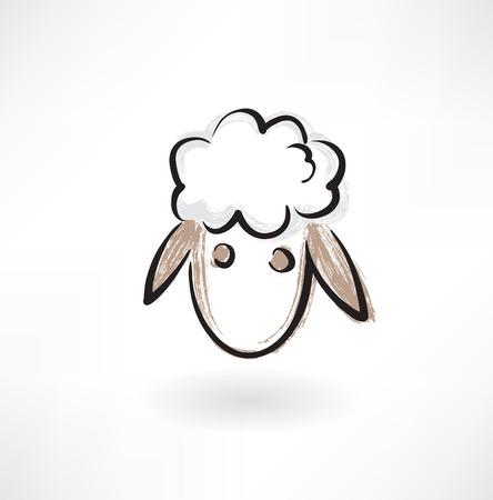 羊の頭グランジ アイコン  イラスト・ベクター素材