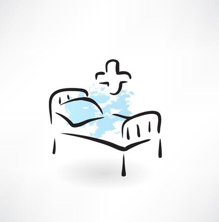hospital room: medical bed grunge icon