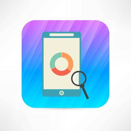display: study chart on display icon Illustration