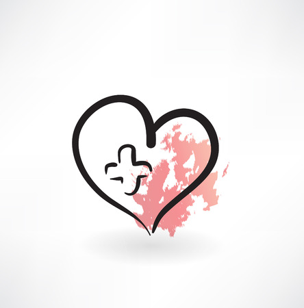 medicine heart grunge icon Vector