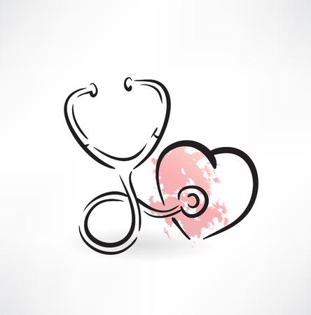 stethoscope heart: stethoscope icon Illustration