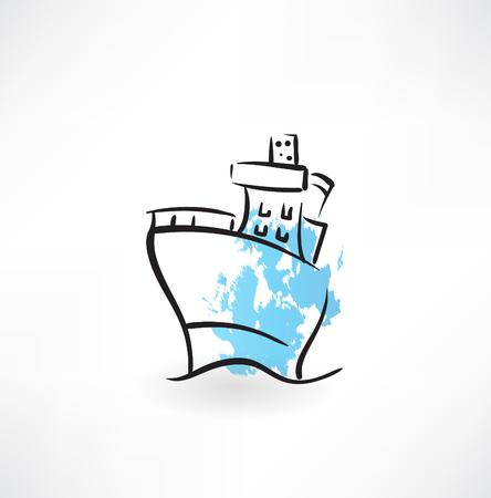 maritime accident: steamer grunge icon