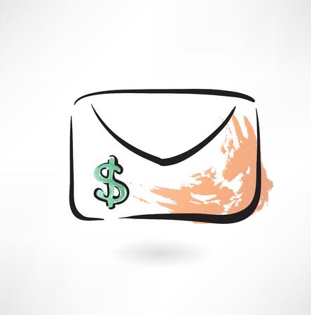 dollar envelope grunge icon Vector