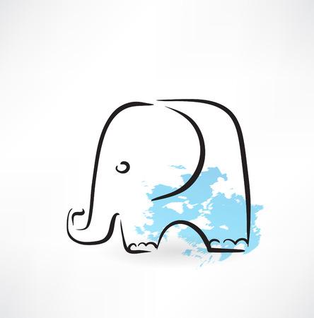 elephant head: elephant grunge icon