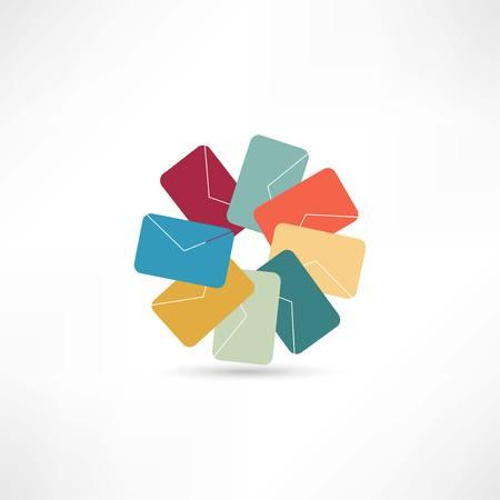 colored envelops icon Vectores
