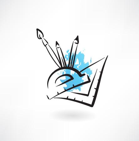 protractor: geometry grunge icon Illustration