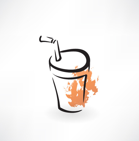 lid: soda paper cup grunge icon Illustration