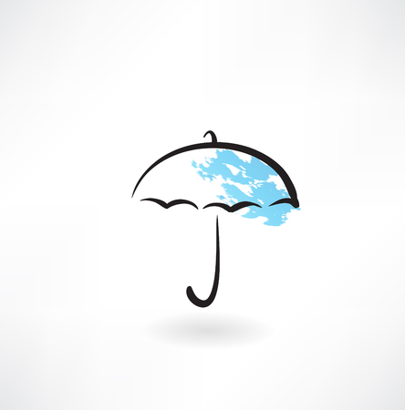 rainy season: umbrella grunge icon Illustration