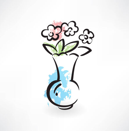 flowers in the vase icon Vector