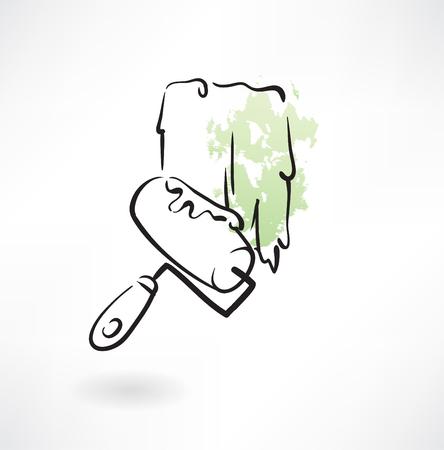 house painter: painter roller grunge icon Illustration